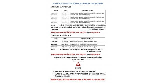22ARALIK-24 ARALIK CELP DÖNEMİ PCR NUMUNE ALIM PROGRAMI