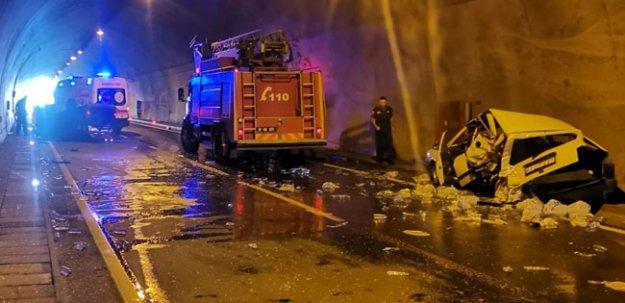 Araklı'da tünelde kaza!