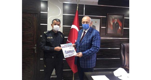 Araklı İlçe Emniyet Müdürü Veli Göçmen, Recep Çebi'yi ziyaret etti.