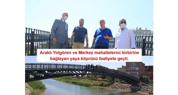 Araklı Yolgören ve Merkez mahallelerini birbirine bağlayan yaya köprüsü faaliyete geçti.