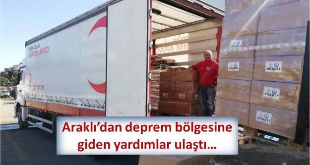 Araklı'dan deprem bölgesine giden yardımlar ulaştı…