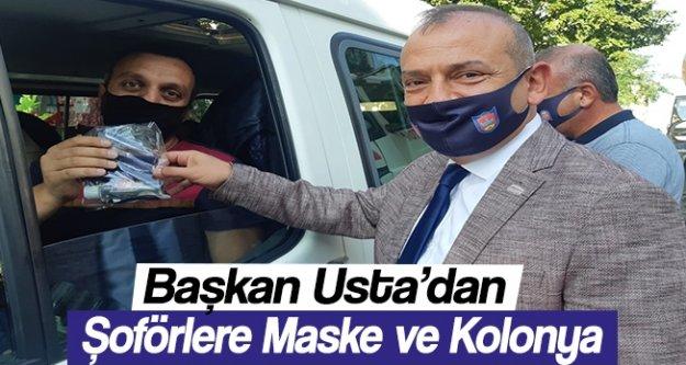 Başkan Usta Şoförlere Maske ve Kolonya dağıttı.