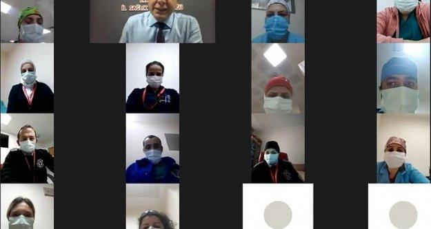 Kanuni Eğitim ve Araştırma Hastanesi personelleri video konferansta İl Müdürü ile buluştu.