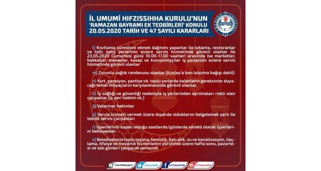 Koronavirüs salgınından korunmak için Trabzon Valiliği'nden yeni tedbirler...