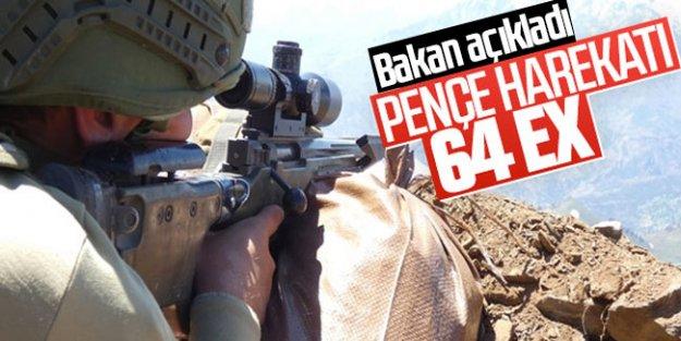 Pençe Operasyonu'nda 64 terörist etkisiz hale getirildi...