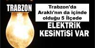 Trabzon'da Araklı'nın da içinde olduğu 5 İlçede elektrik kesintisi yapılacak.