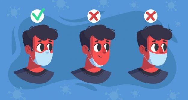 Tıbbi maskenin tek doğru kullanım şekli; ağız ve burnun