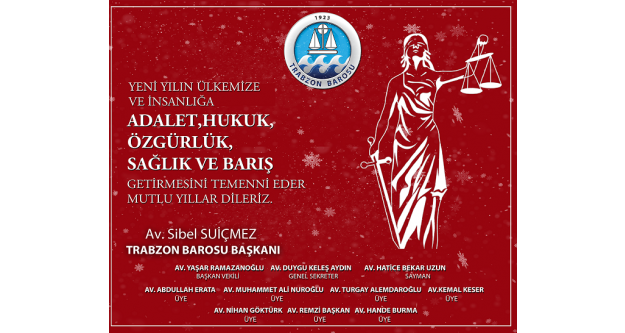 Trabzon Barosu Yeni Yıl Mesajı