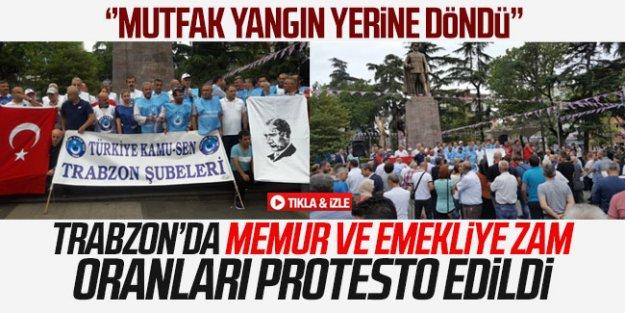 Trabzon'da memur ve emekliye zam oranları protesto edildi.