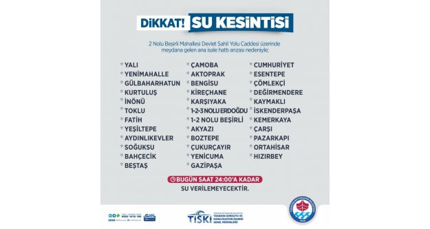 Trabzon genelinde su kesintisi!