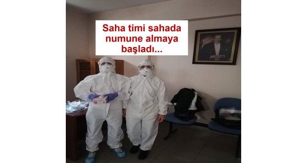 Trabzon İl Sağlık Müdürlüğü Saha timi sahada numune almaya başladı...