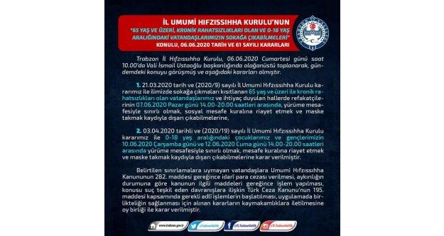 Trabzon Valiliği'nden yeni kararlar...