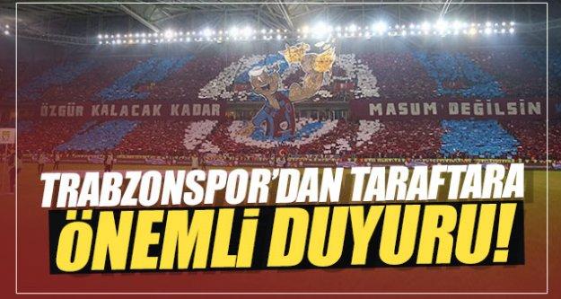 Trabzonspor'dan taraftara uyarı...